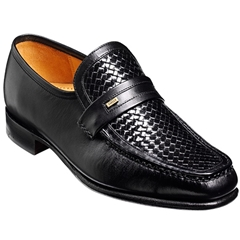 Barker Shoes Style: Adrian - Black Calf/Weave