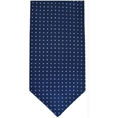 Men's Silk Cravat - Navy and Purple Polka Dot