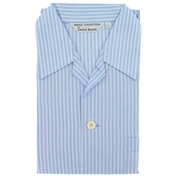 Men's Derek Rose Cotton Pyjamas - Blue 3 Neat Stripes - Elastic Waist