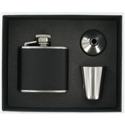 Polished Steel Hip Flask Gift Set