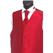 Boy's Shantung Wedding Waistcoat- Red