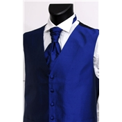 Men's Silk Shantung Wedding Waistcoat- French Navy