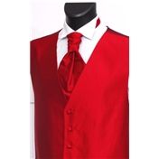 Men's Silk Shantung Wedding Waistcoat- Red