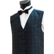 Boy's Silk Shantung Wedding Waistcoat- Tartan Blackwatch