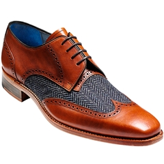 Barker Shoes Style: Jackson - Cedar Calf/BlueTweed