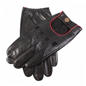 Dents Men's Leather Driving Gloves - Black and Red