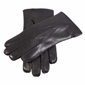 Dents Men's Handsewn Fur Lined Leather Gloves - Black