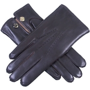 Dents Men's Rabbit Fur Lined Leather Gloves - Brown