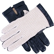 Dents Men's Cotton Crochet back Driving Gloves - Black