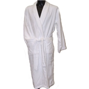 Men's Velour Dressing Gown - White