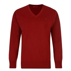 Gabicci Classic Knitted Plain V Neck - Red