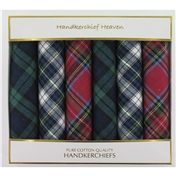 Six Assorted Red/Green/Blue Tartan Handkerchiefs - Classic Tartan 100% Cotton