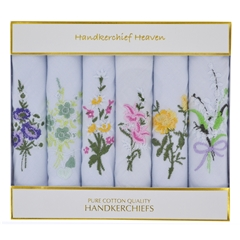 Ladies Handkerchiefs - 6 Assorted Embroidered Flowers