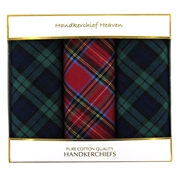 Cotton Men's Handkerchiefs - Box Of 3 Different Tartan Designs
