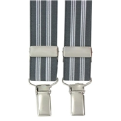 Grey Stripe Clip-On Men's Braces