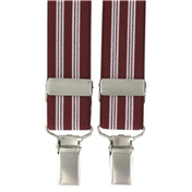 Maroon Stripe Clip-On Men's Braces