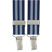 Navy Stripe Clip-On Men's Braces
