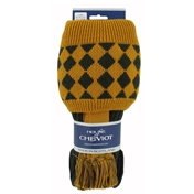 House Of Cheviot Chessboard Socks & Garter Ties - Dark Loden