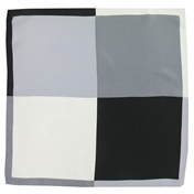 Silk Pocket Handkerchief - Four Quaters With Borders Of Opposite Colours - Black / Grey