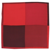 Silk Pocket Handkerchief - Four Quaters With Borders Of Opposite Colours - Red / Wine