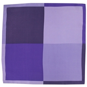 Silk Pocket Handkerchief - Four Quaters With Borders Of Opposite Colours - Purple / Lilac