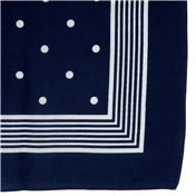 Bandana or Large Handkerchief - Navy With White Polka Dots