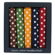 Men's Spot Bandana/Large Handkerchiefs Box Of 5 Coloured Handkerchiefs