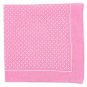 Bandana or Large Handkerchief - Pink With Small White Polka Dots