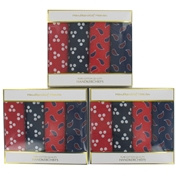 Three Boxes of Four Large Assorted Patterned Handkerchiefs (12 handkerchiefs in total)