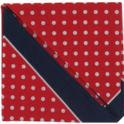 Bandana or Large Handkerchief - Red Polka Dot Navy Border - Polka Dot Large Handkerchief