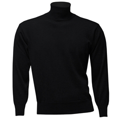 Men's  Fine Merino Wool Franco Ponti Roll Neck Sweater - Black