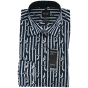 New for 2014 - Olymp Shirt - Striped Navy Blue - M Only