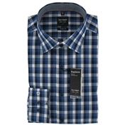 New for 2014 - Olymp Shirt - Navy Blue Check - XL Only