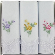 Silver Box of 3 Multicoloured Flowers Design Handkerchiefs with Lace Butterfly Corners