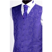 Boy's Wedding Waistcoat Patterned- Purple