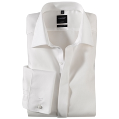 Olymp Cream Diagonally Patterned Evening Dress Shirt - Standard Collar - Modern Fit