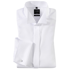 Olymp White Diagonally Patterned Evening Dress Shirt - Wing Collar - Modern Fit
