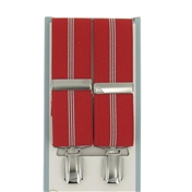 Luxury Wide Braces - Red and Thin White Stripes  Mens  Braces