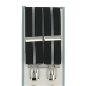 Luxury Wide Braces - Black and Thin White Stripes  Mens  Braces