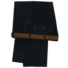 New Autumn 2014 Meyer Blue Black Cotton Trouser with Tan Trim