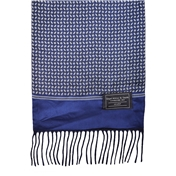 Navy & Blue Flower Paisley Patterned Wool-Backed Silk Scarf