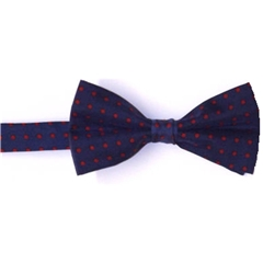 Ready Tied Bow Tie - Navy and Red Polka Dots