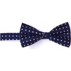 Ready Tied Bow Tie - Navy and White Polka Dots