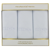 Personalised Ladies Handkerchiefs - Choose a name - White Lettering