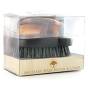 Military Hairbrush & Comb - Dark Wood Finish