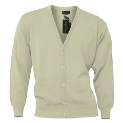 Mens Franco Ponti Button Front Cardigan in Beige