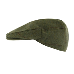 Teflon Coated Tweed Wool Flat Cap in Mid Green with Brown Overcheck