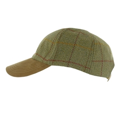 Tweed Baseball Cap with Faux Suede Peak in Light Green - One Size Fits All
