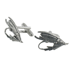 Fishing Fly English Pewter Cufflinks