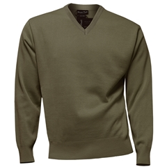 Franco Ponti Classic Vee Neck Sweater - Medium Weight - Brown